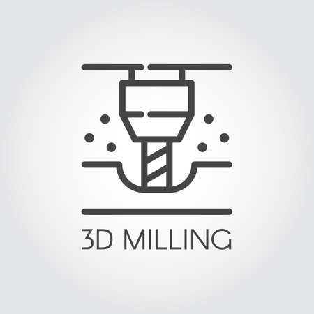 3D milling machine line icon. Modern device for fabrication and prototype production. Innovation technical equipment contour icon . Industrial theme. Vector illustration