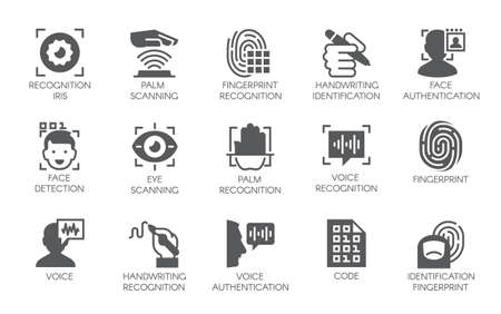 Set of 15 flat icons - biometric authorization, identification and verification symbols. Vector illustration.