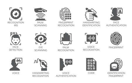 Set van 15 vlakke pictogrammen - biometrische autorisatie-, identificatie- en verificatiesymbolen. Vector illustratie