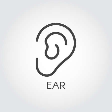 Icon of the human ear drawing in thin outline style. Part of face. Skincare, beauty, plastic surgery and cosmetology treatment concept logo. Graphic web pictograph. Vector illustration Illustration