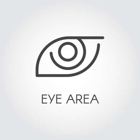 Icon of the human eye area drawing in thin outline style. Part of face. Anatomy, prevention, treatment and cosmetology concept logo. Graphic web pictogram. Vector illustration