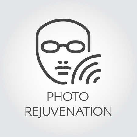 Photo rejuvenation line icon. Abstract human portrait. Cosmetology, skincare, healthcare treatment concept. Contour of face. Graphic outline label. Vector illustration