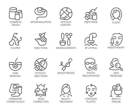 20 ikon na temat kosmetologii na białym tle. Terapia kosmetyczna, medycyna, opieka zdrowotna, leczenie odnowy biologicznej symbol liniowy
