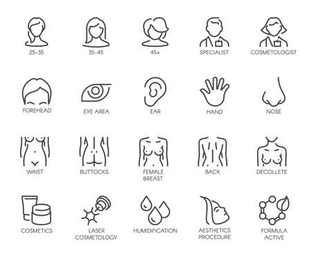 Thematic icons isolated. Avatar of women of different ages, doctor, facial parts, female figure and cosmetic logos