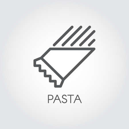 Pasta in package line icon. Graphic symbol of floury meal. Traditional Italian dish. Spaghetti or macaroni outline pictograph. Vector illustration for cooking theme Banque d'images - 105160453