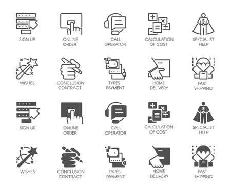 Set of online service buttons. 10 icons in linear and glyph designs. Call operator, home delivery, specialist help, signing of contract, cost calculation and other labels. Vector illustration isolated