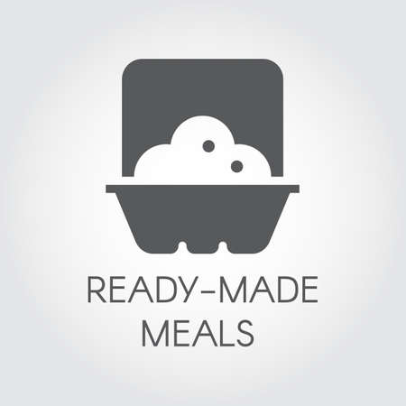 Ready made meals glyph icon. Prepared portion label concept. Plate with food in oven. Graphic web logo. Cooking black flat sign. Vector illustration for print and thematic sites, mobile apps