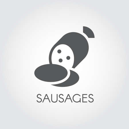 Sausages glyph icon. Salami for lunch and snacks. Ilustração