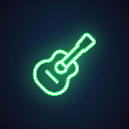 Guitar green neon icon. Luminous sign for music shops, nightclub, bars, pubs, concerts, training classes. Advertising glow element. Bright image for banner. Vector illustration isolated on black