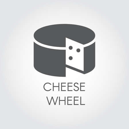 Cheese glyph icon. Dairy product black flat label. Natural healthy food logo. Vector illustration for cooking theme