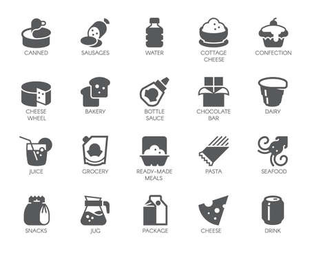 Drink and food glyph icons. 20 black flat labels isolated. Dairy, sweets, seafood and other meal. Culinary and gastronomy concept. Vector button for grocery stores and other design needs Vettoriali