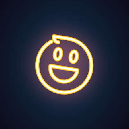 Happy smile neon icon. Cheerful emoji illumination symbol. Laughing emoticon expression of positive feelings. Vector