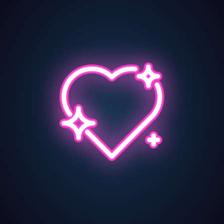 Sparkling heart with stars neon icon. Illuminated romantic symbol. Shop sign, button for love chat, element of decoration for holiday Valentines day. Vector illustration isolated on black