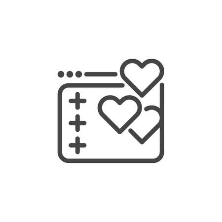 Bubble with heart icon. Label for love chat in social networks, dating sites and apps, romantic coaching, virtual communication, flirting. Outline label. Vector illustration isolated