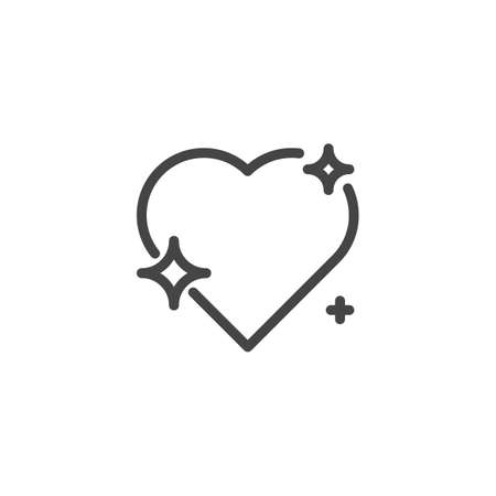 Heart with stars thin line icon. Symbol of romance, love, care and health. Element of decoration for holiday Valentines day. Vector illustration isolated on white background
