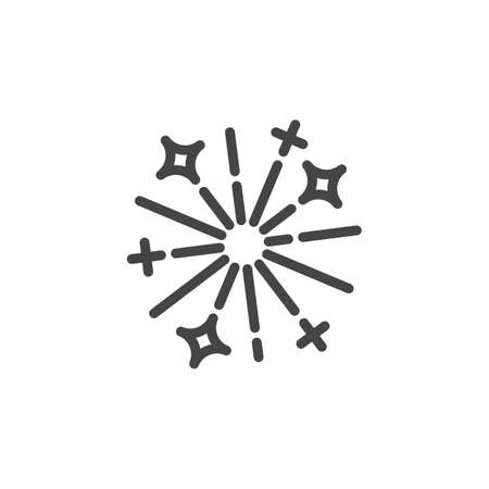 Festive firework line icon. Symbol of celebration of New Year, Christmas and other events. Flake pattern for decoration. Vector illustration isolated on white background