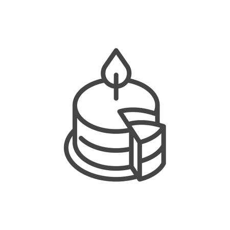 Birthday cake with burning candle outline icon. Symbol of party, holiday, event, anniversary. Sweet dessert line label. Web pictograph. Vector illustration isolated on white background