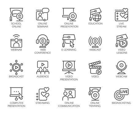 Line icons of webinars, online education. web conferences, remote video meetings. Modern Internet technologies and communications label series. Global network concept set. Vector illustration isolated