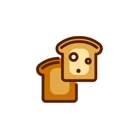 Two toasts. Icon of traditional food element for breakfast. Fried crusty bread for sandwiches. Color series of labels on culinary theme. Vector illustration isolated