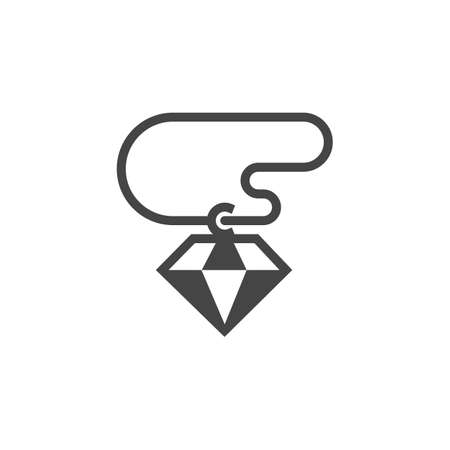 Diamond jewelry icon. Simple gemstone template.  Vector illustration isolated on white background Çizim