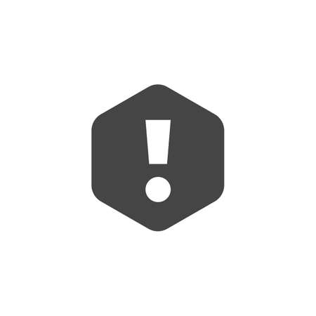 Exclamation mark sign. Web icon notifications, alert symbol, attention. UI button n black flat design. Interface information pictogram. Vector illustration isolated on white Stok Fotoğraf