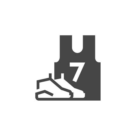 Sneakers and T-shirt with number 7. Black flat icon of sportswear. Vector illustration isolated on white