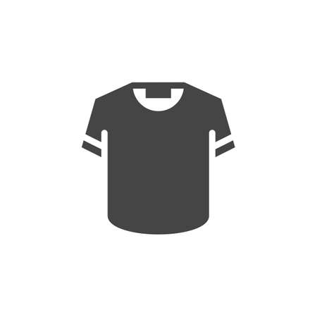 T-shirt icon in black flat design. Button or sign for online store, websites or mobile app interfaces, promo materials. Vector illustration isolated on white