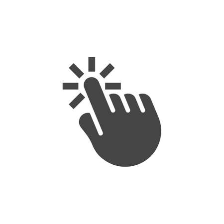 Click hand black flat icon. Finger clicker as a mouse web graphic pictogram. Pointer, cursor, navigation in information systems concept label. Computer element. Vector illustration isolated Çizim