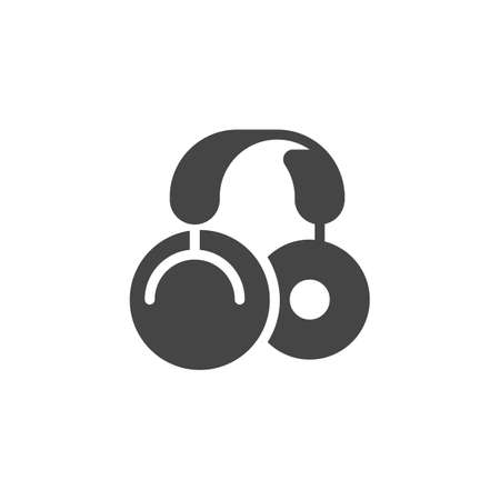 Large wireless headphones icon. Device for listening to music and different sounds. Instrument of DJs, radio presenters, recording studios. Modern gadget flat label. Vector illustration isolated
