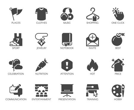 20 black flat icons on sports, lifestyle, hobbies, online shopping and education theme. Graphic labels or buttons for thematic sites and mobile apps interfaces, game elements. Vector isolated Çizim