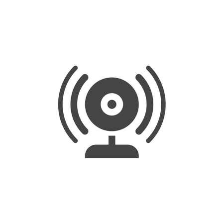 Trasmissione tramite icona piatta della webcam. Etichetta della webcam e delle onde sonore. Blogging, vlogging, streaming, traduzione online