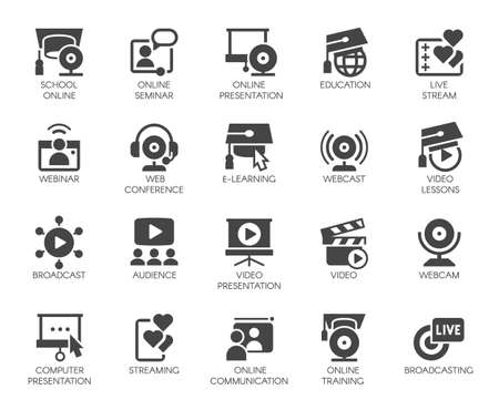 Flat icons of webinars, online education. web conferences, video meetings. Global network concept set. Vector isolated Stok Fotoğraf