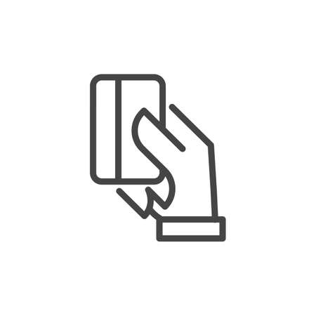 Hand holding credit card outline icon. Modern payment systems concept. Purchase with plastic debit card. Financial electronic theme. Line sign isolated. Vector illustration
