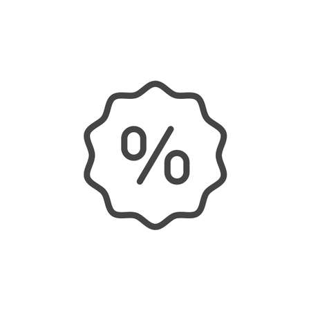 Percent sign in bubble line icon. Discount and promotional offer symbol, account interest rate, financial and calculator sign. Contour pictograph isolated for websites and shops. Vector illustration
