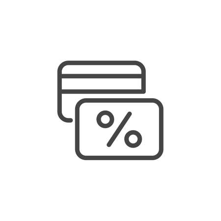 Bank card with percentage sign. Linear icon from financial series. Credit card, rate, discount, cashback concept label isolated on white. Vector illustration Çizim