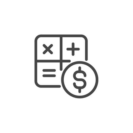 Counting cash icon. Mathematical formula symbols and dollar sign. Cash calculation line label. Budget planning, cost estimates, analysis of savings concept. Vector illustration isolated on white Çizim