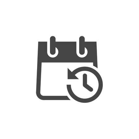 Icon of Calendar with Clock and Arrow in Opposite Direction. Schedule, Agenda, Organizer, Timepiece, Countdown, Timer, Reminder, Time Management Batch. Vector Isolated for Web and App in Glyph Design Çizim