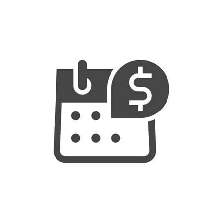 Icon of Calendar with Dollar Sign. Day of Salary, Payment, Accrual of Cash Dividends Concept. Time Management Black Flat Sign. Vector graphic Logo for Web and App in Glyph Style. Illustration Isolated