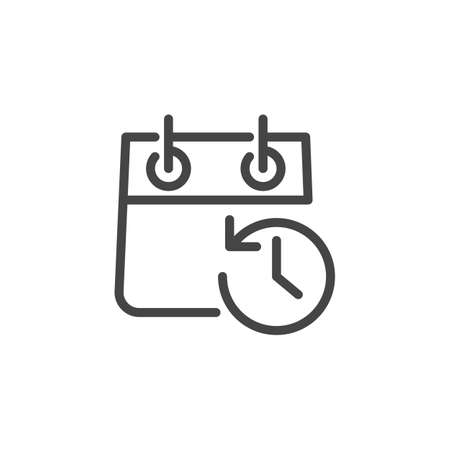Calendar with Clock and Arrow in Opposite Direction. Icon of Schedule, Agenda, Timepiece, Countdown, Reminder, Time Management Concept. Vector Illustration Isolated for Web and App in Line Style