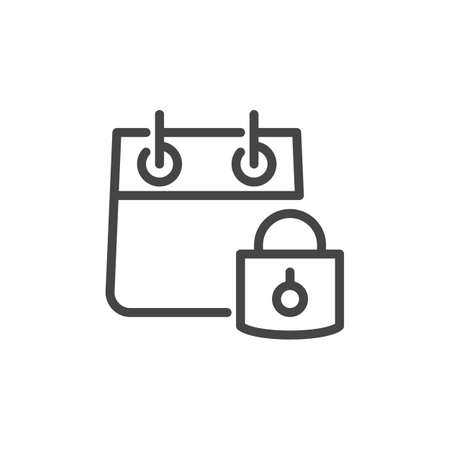 Icon of Calendar with Padlock in Linear Style. Private Recordings, Personal Organizer Concept. Simplicity Graphic Label. Vector Illustration Isolated for Web and App.