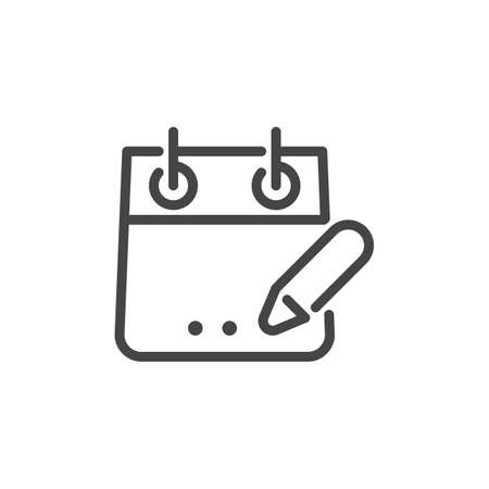 Icon of Portable Calendar with Pen. Planning Task, Deadline, Event, Schedule Concept Logo Isolated. Time Management Contour Sign. Vector Illustration for Web and App in Line Style Çizim