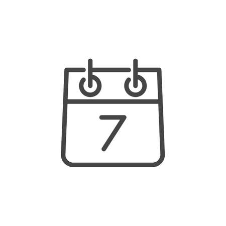 Calendar and Number Seven Icon. Date of Meeting, 7th day of Month, Weekly Organizer Contour Label. Ttimetable, Time Management Concept. Vector Illustration Isolated for Web and App in Line Style 版權商用圖片 - 124525365