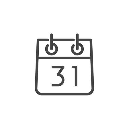 Calendar with Number 31 Line Icon. Date of Meeting, thirty-one December, New Year Label. Time and Date, Month, Schedule, Event, Appointment, Day. Vector Isolated for Web and App in Outline Style