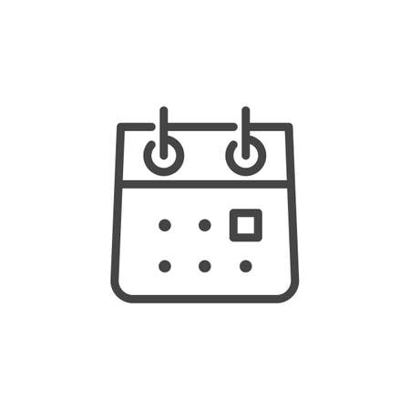 Calendar Icon. Rolled Notebook Outline Pictograph. Time Management Such Line Signs as Calendar, Time and Date, Month. Custom Vector Icons for Web and App in Outline Style.
