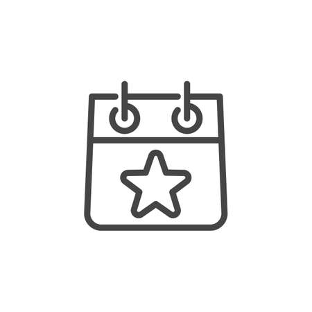 Calendar Sheet with Star Line Icon. Time Management and Reminder About Important Event Outline Label. Time and Date, Month, Schedule, Event, Appointment, Day. Vector for Web and App in Contour Design