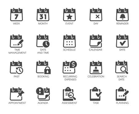 Premium Icons Pack on Time Management Such Solid Signs as Calendar, Time and Date, Month, Schedule, Event, Appointment, Day. Custom Vector Icons Set for Web and App in Glyph Style. Pixel Perfect 48x48 版權商用圖片 - 124525405