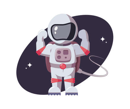 Astronaut tensed his muscles in his arms. Space character gestures force in open space. Spaceman in flat style. Star mission, galactic research concept for comic, games and other design needs