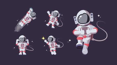 Set of astronaut in various poses in outer space. Spaceman exploration galaxy. Astronomy, star mission, intergalactic flight, galactic research concept. Flat man for comic, games and other design