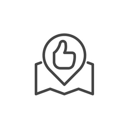 Open book and Thumbs up line icon. Book of reviews and wishes for hotels, restaurants, shops, services. Linear style emblem for websites, print catalogs and mobile applications. Vector illustration