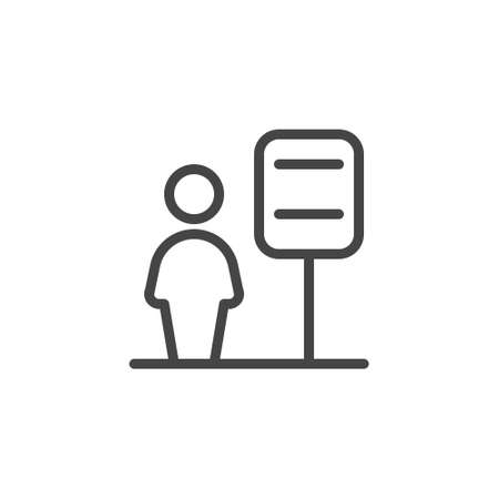 Wellcome area and receptionist line icon. Reseption, registration or information Desk, lobby with assistant concept. Linear label for websites, print catalogs and mobile apps. Vector illustration